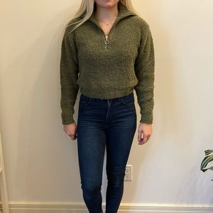 Wilfred Cropped 1/4 Zip Sweater Green XXS